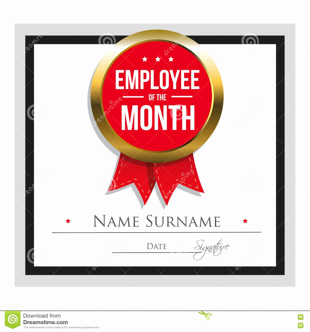 Employee Of the Month Free Fresh Employee the Month Certificate Template Stock Vector