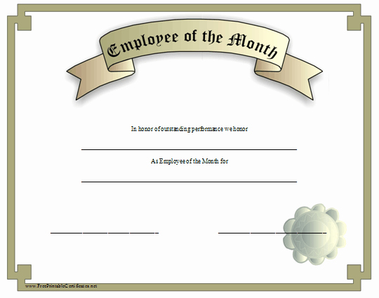 Employee Of the Month Free Fresh This Silver Grey Certificate Recognizes An Employee Of the