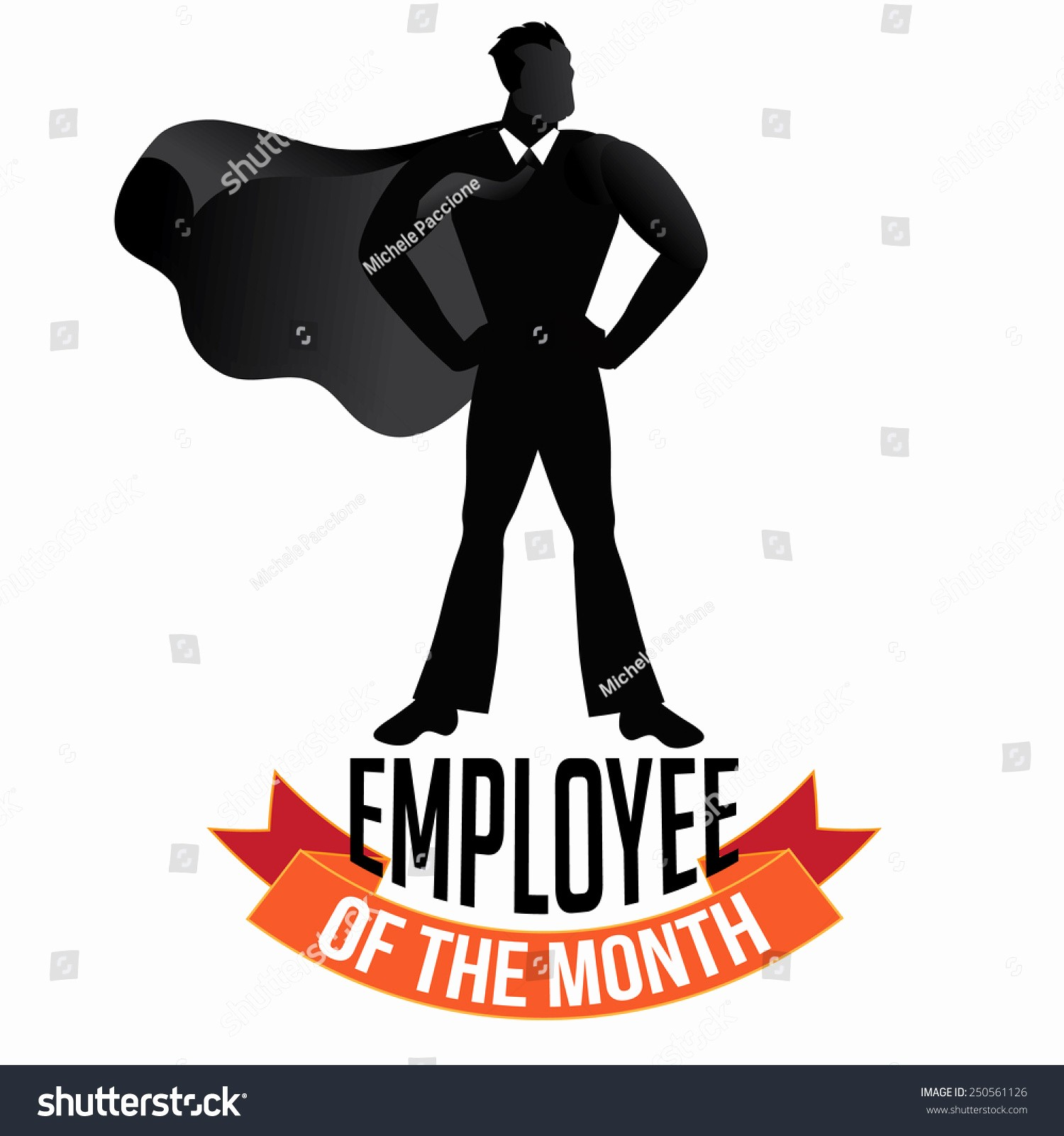 Employee Of the Month Free Inspirational Male Employee Month isolated White Stock Vector
