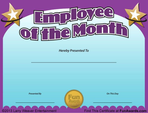 Employee Of the Month Free Lovely Employee Of the Month Certificate Free Funny Award Template