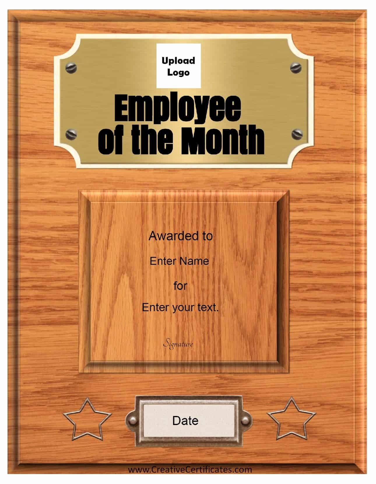 Employee Of the Month Free Lovely Free Custom Employee Of the Month Certificate