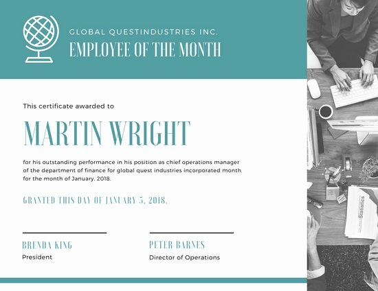 Employee Of the Month Free Luxury Customize 1 508 Employee the Month Certificate