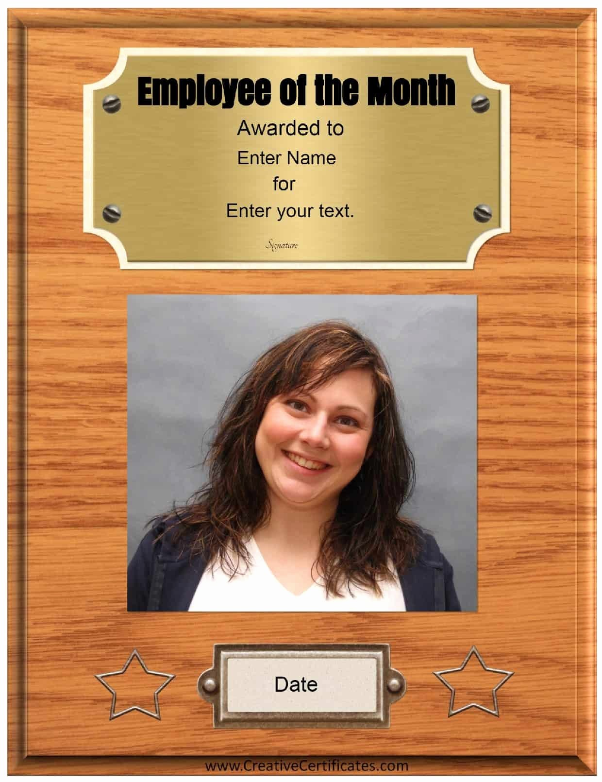 Employee Of the Month Free Unique Free Custom Employee Of the Month Certificate
