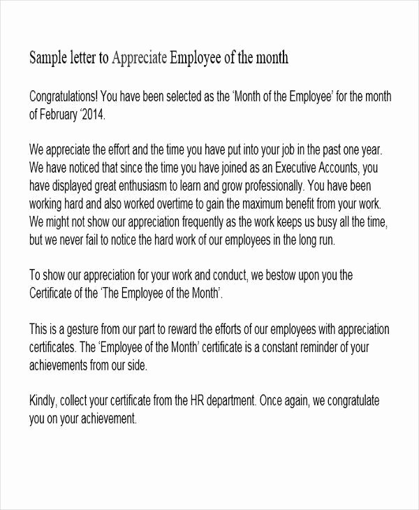Employee Of the Month Sample Awesome 42 Appreciation Letters In Pdf