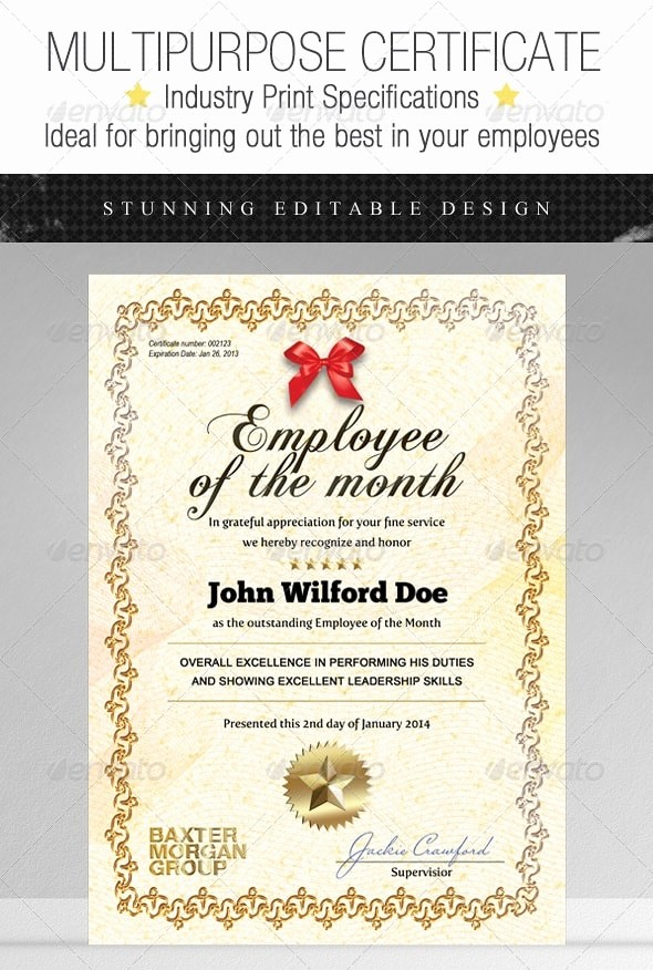 Employee Of the Month Sample Awesome Certificate Templates Free Psd Download 56pixels