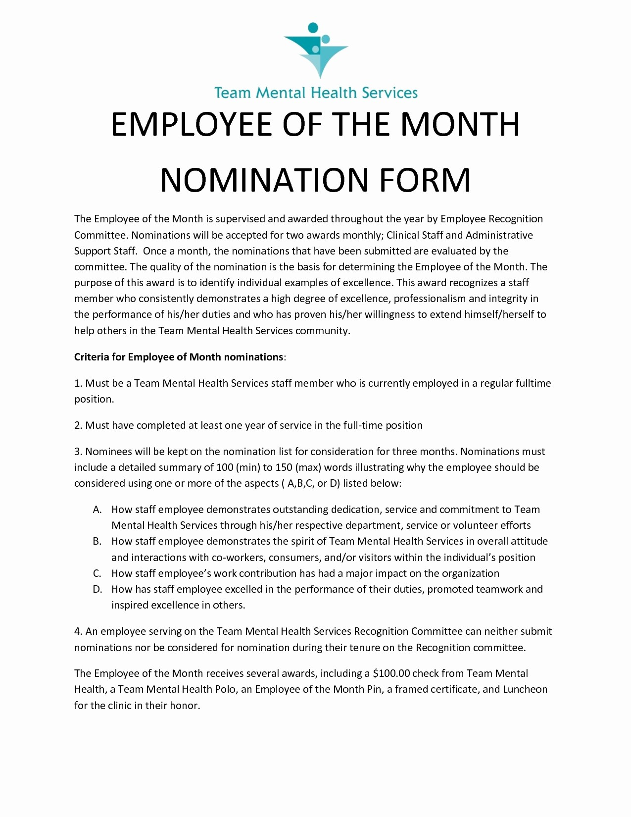 Employee Of the Month Sample Elegant Employee Employee the Month Nomination form Design