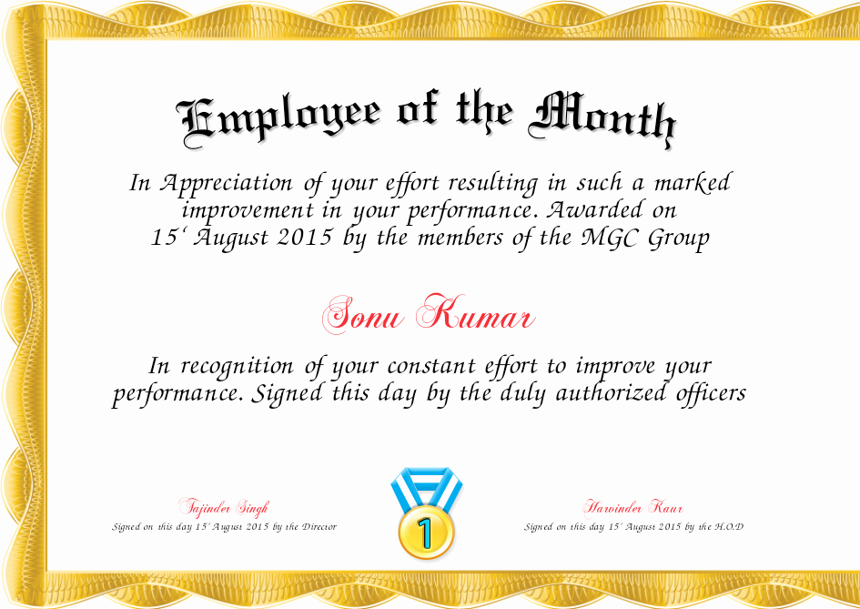 Employee Of the Month Sample Elegant Employee the Quarter Certificate Free Sample Employee