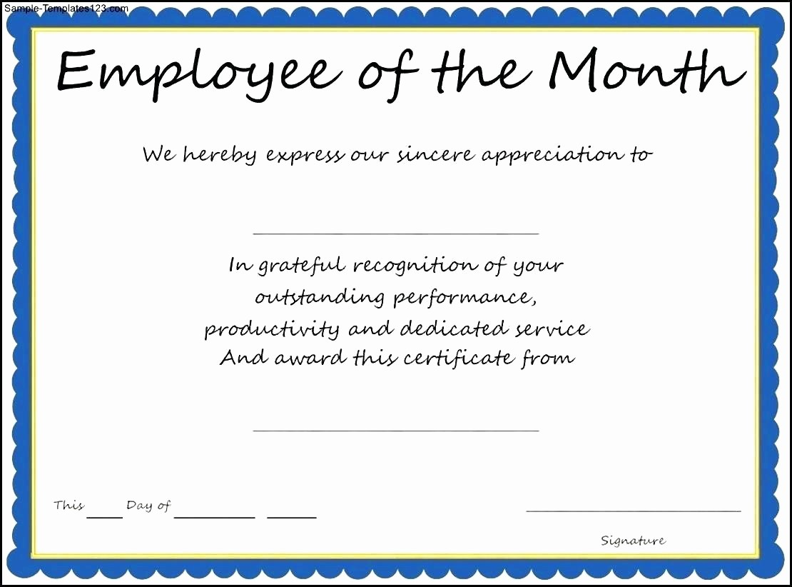 Employee Of the Month Sample Elegant Template Thank You Certificate Template Word