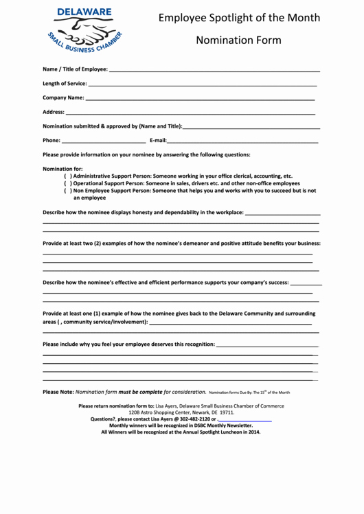 Employee Of the Month Sample Elegant top 15 Employee the Month Nomination form Templates
