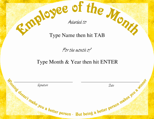 Employee Of the Month Sample Fresh Employee the Month Template