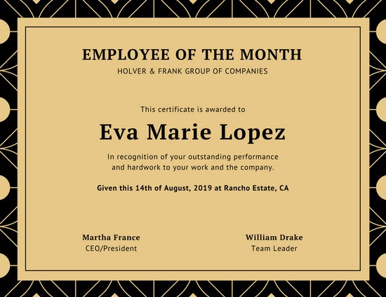 Employee Of the Month Sample Inspirational Customize 1 508 Employee the Month Certificate