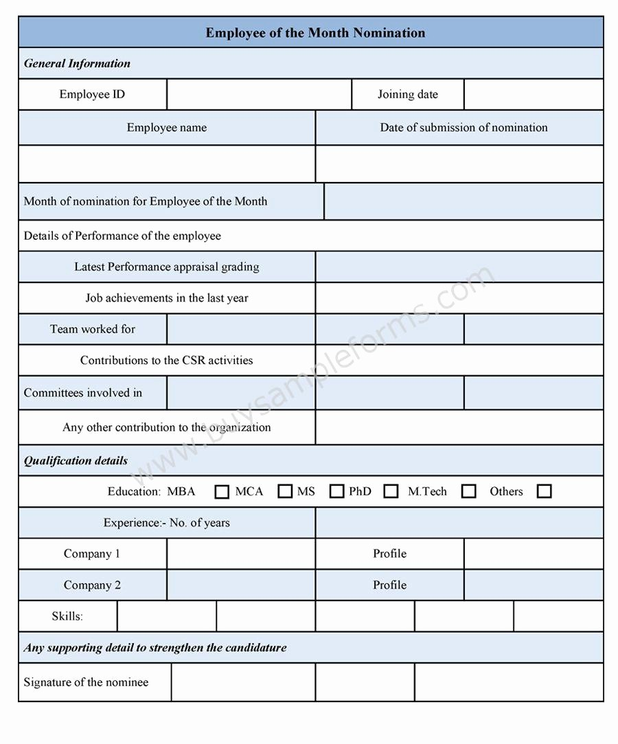 Employee Of the Month Sample Lovely Employee Of the Month Nomination form Sample forms
