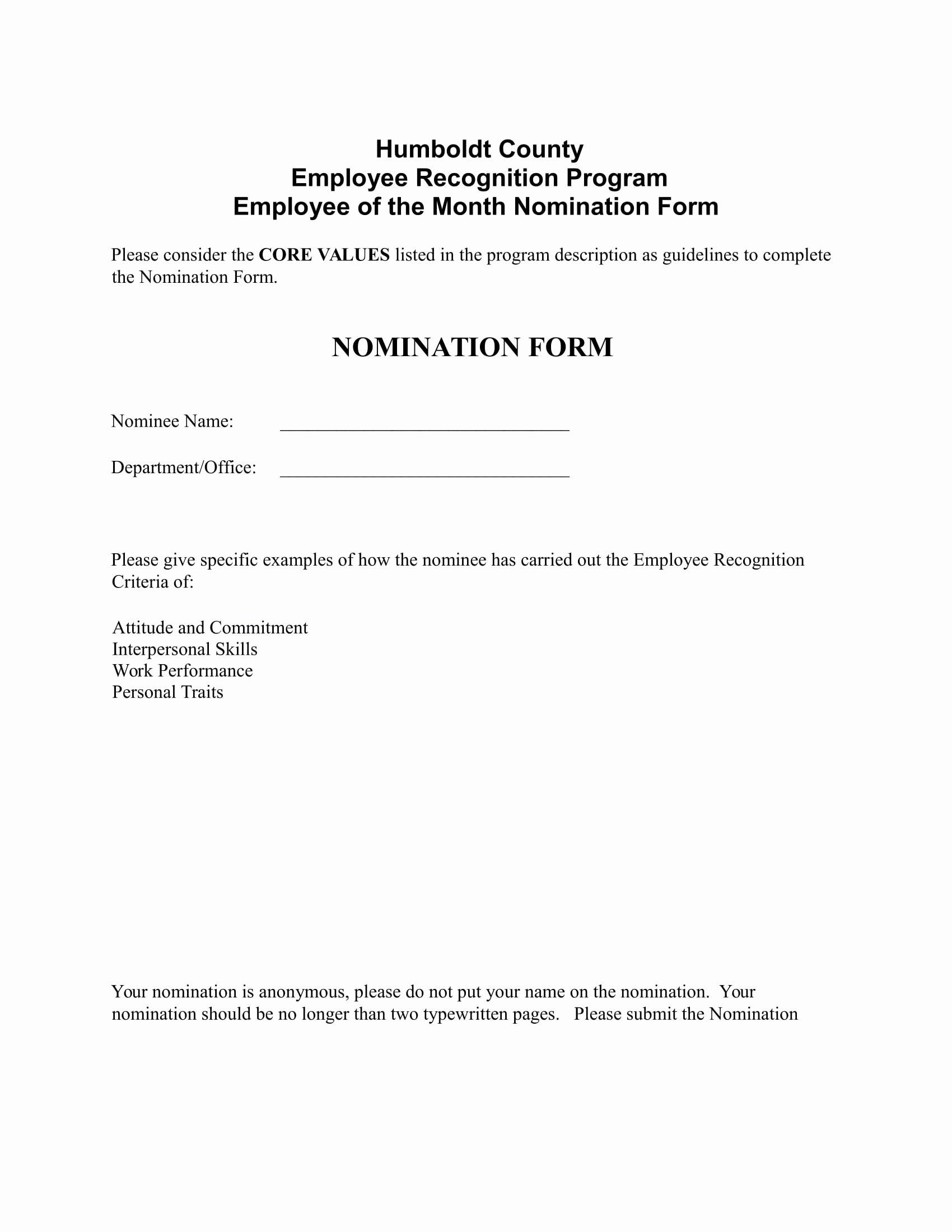 employee voting forms
