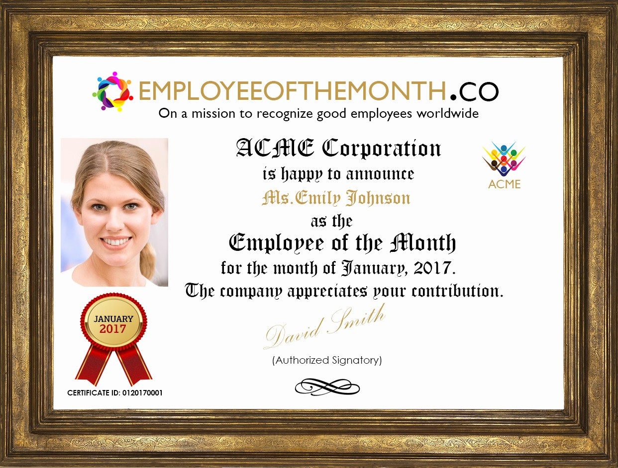 Employee Of the Month Sample Luxury Corporate Branded Employee Of the Month Demo Page with