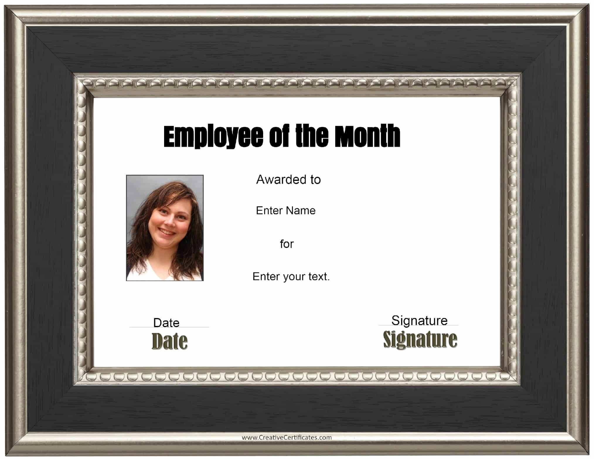 Employee Of the Month Sample Luxury Free Custom Employee Of the Month Certificate