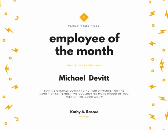 Employee Of the Month Sample Unique Customize 1 508 Employee the Month Certificate