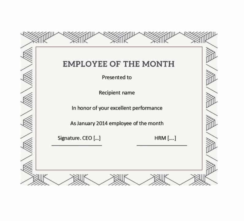 Employee Of the Month Sample Unique Employee the Month Certificate Certificate attendance
