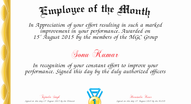 Employee Of the Quarter Certificate Awesome 10 Employee the Month Awards Templates – Lscign