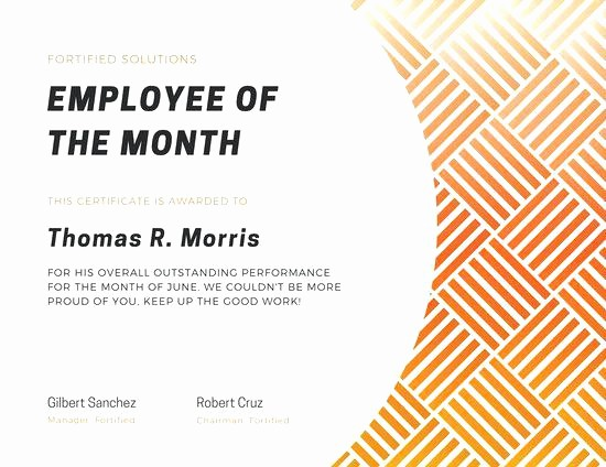 Employee Of the Quarter Certificate Best Of Employee the Month Certificate Template 7 Award Free