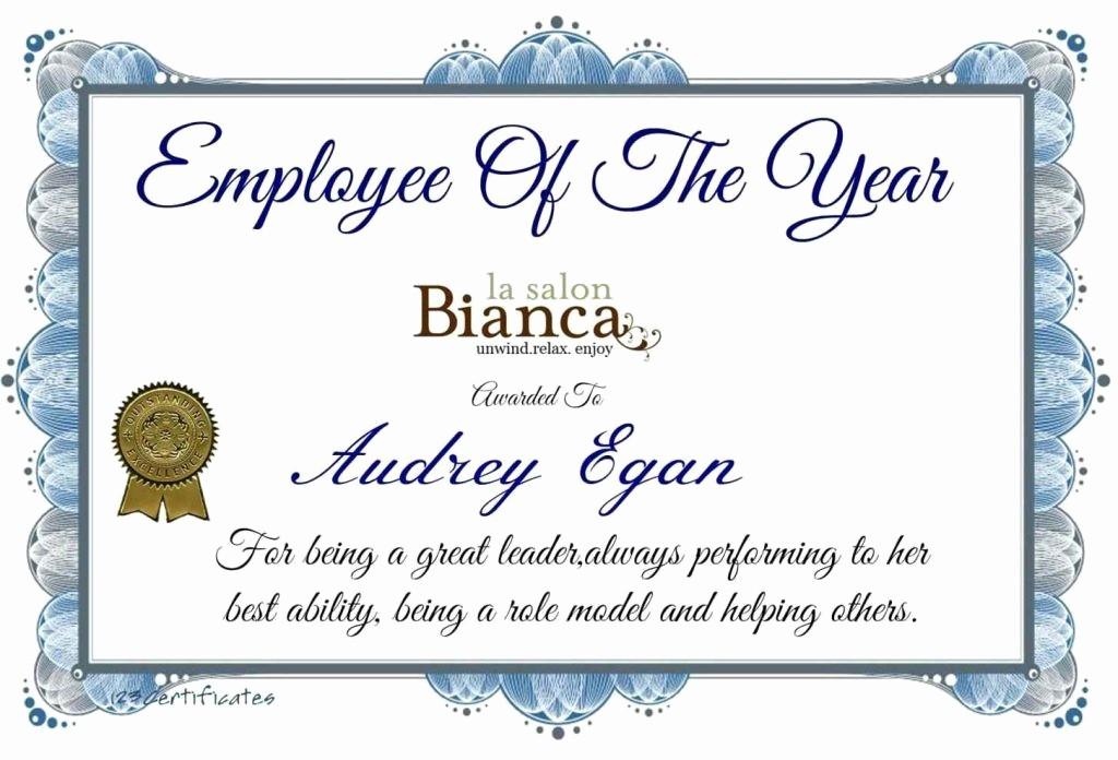 Employee Of the Quarter Certificate Elegant 26 Word Doc Achievement Templates