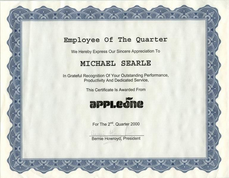 Employee Of the Quarter Certificate Fresh My Resume