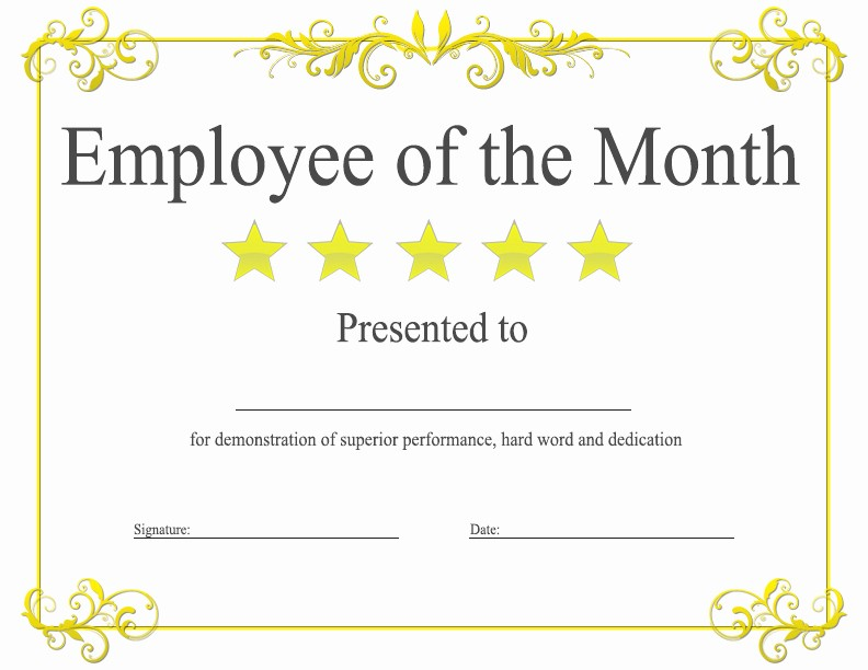 Employee Of the Quarter Certificate Inspirational Employee Of the Month Award Kukook