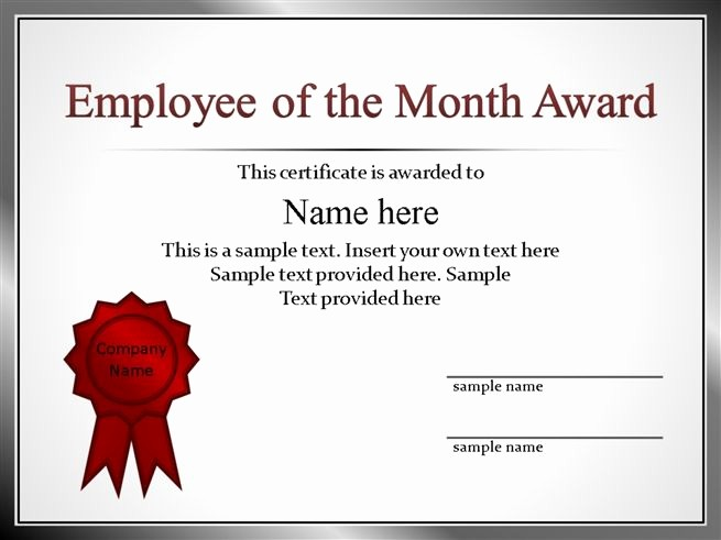 Employee Of the Quarter Certificate Lovely 53 Employee Recognition Template Powerpoint Pptx