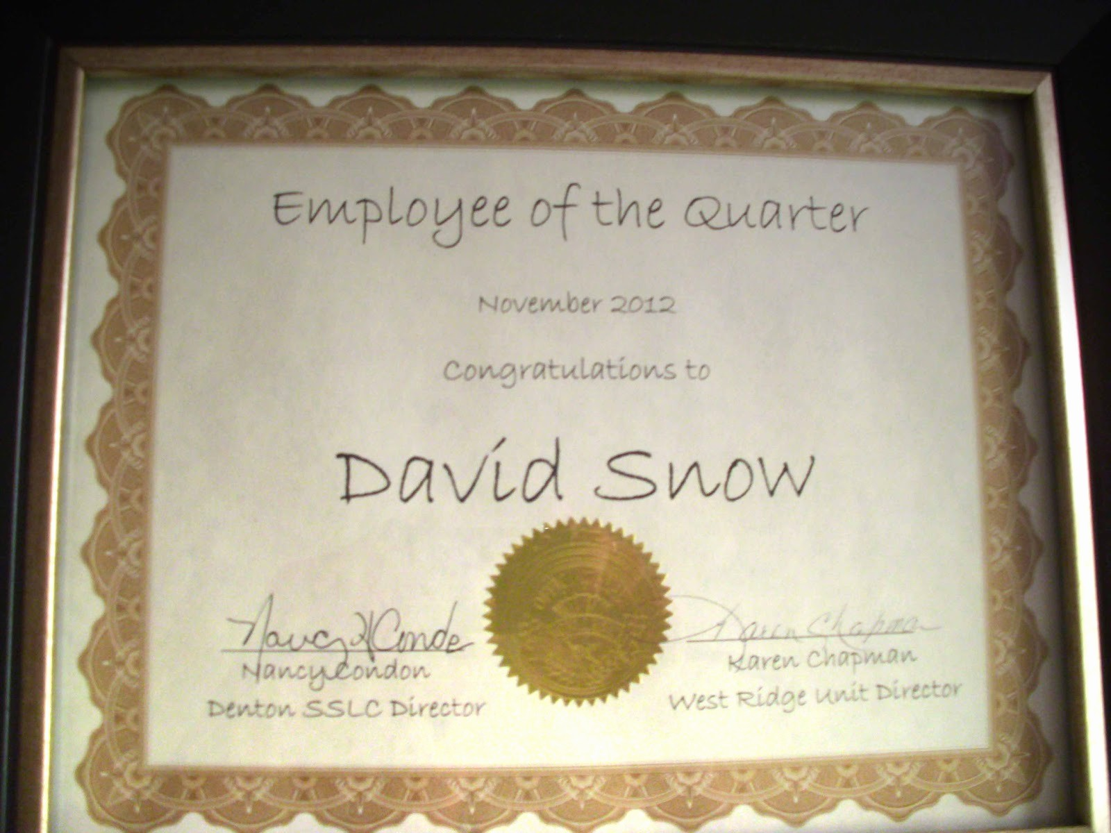 Employee Of the Quarter Certificate Lovely Snow S Journal Employee Of the Quarter