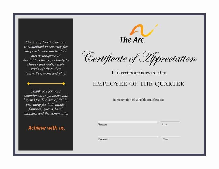 Employee Of the Quarter Certificate New 23 Best the Arc Of Nc Employee Of the Quarter Images On