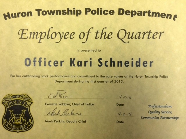Employee Of the Quarter Certificate Unique Huron township Police Ficer Given First Ever 'employee