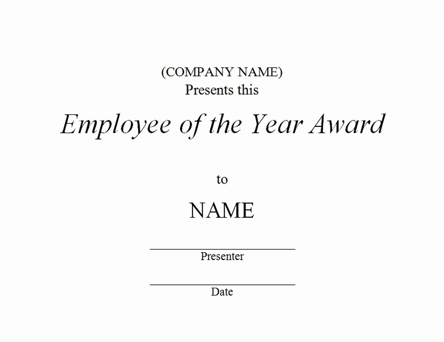 Employee Of the Year Certificates Beautiful Awards Free Templates Clip Art & Wording