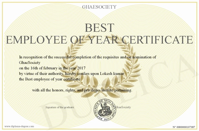 Employee Of the Year Certificates Beautiful Best Employee Of Year Certificate