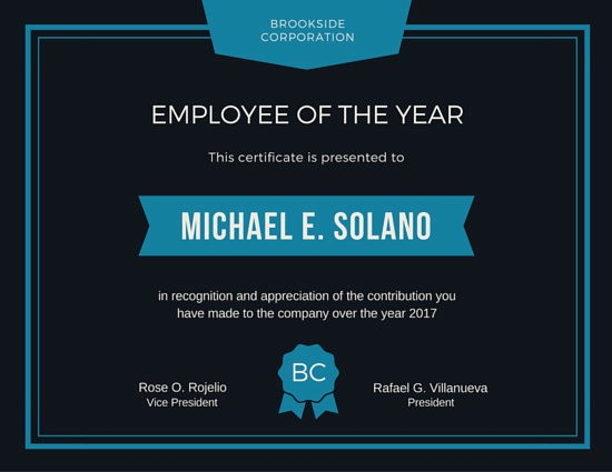 Employee Of the Year Certificates Beautiful Employee Of the Year Award Certificate Templates by Canva