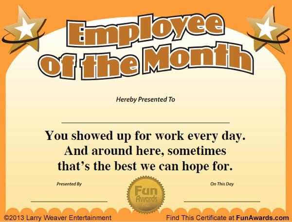 Employee Of the Year Certificates Elegant Employee Of the Month Certificate Free Funny Award Template