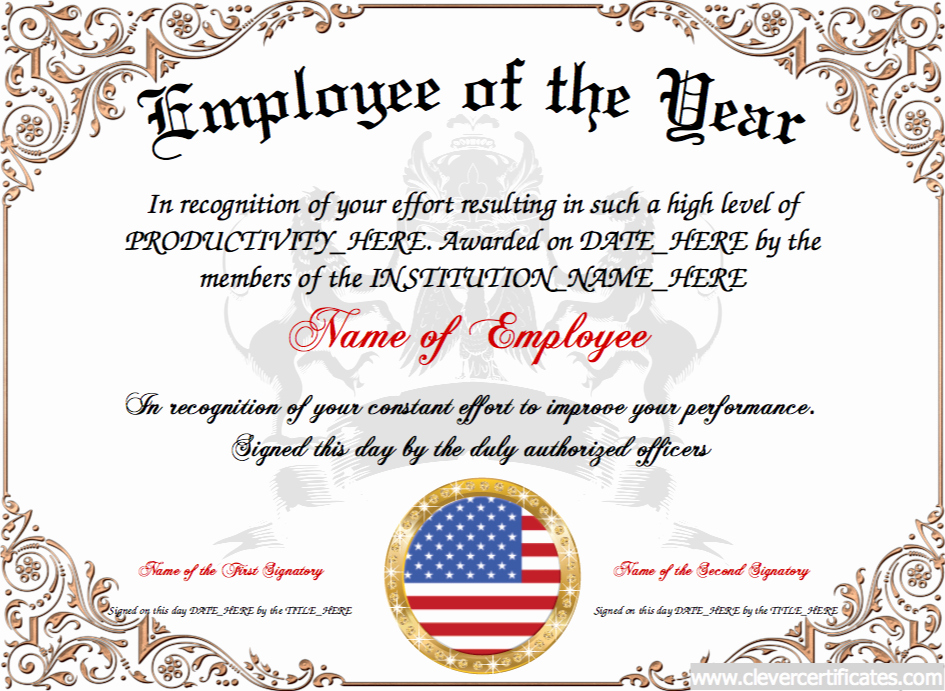 Employee Of the Year Certificates Elegant Employee Of the Year Award Certificate Template Employee