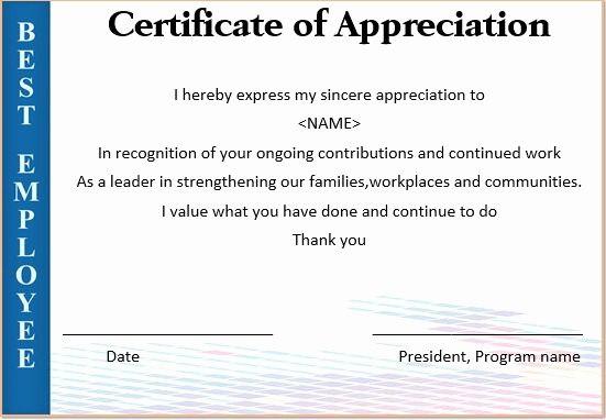 certificates of appreciation for employees