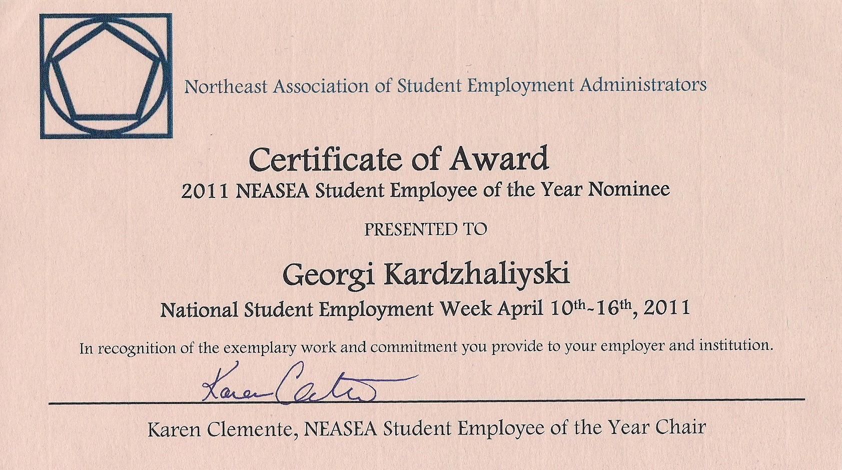 Employee Of the Year Certificates Fresh Georgi Kardzhaliyski S Online Portfolio