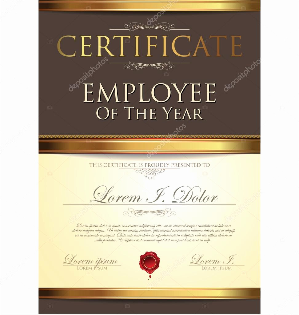Employee Of the Year Certificates Inspirational Certificate Employee Of the Year — Stock Vector