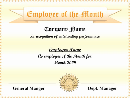Employee Of the Year Certificates Inspirational Employee Of the Month Certificate Free