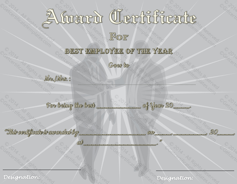 Employee Of the Year Certificates Lovely Best Employee Of the Year Award Certificate Template