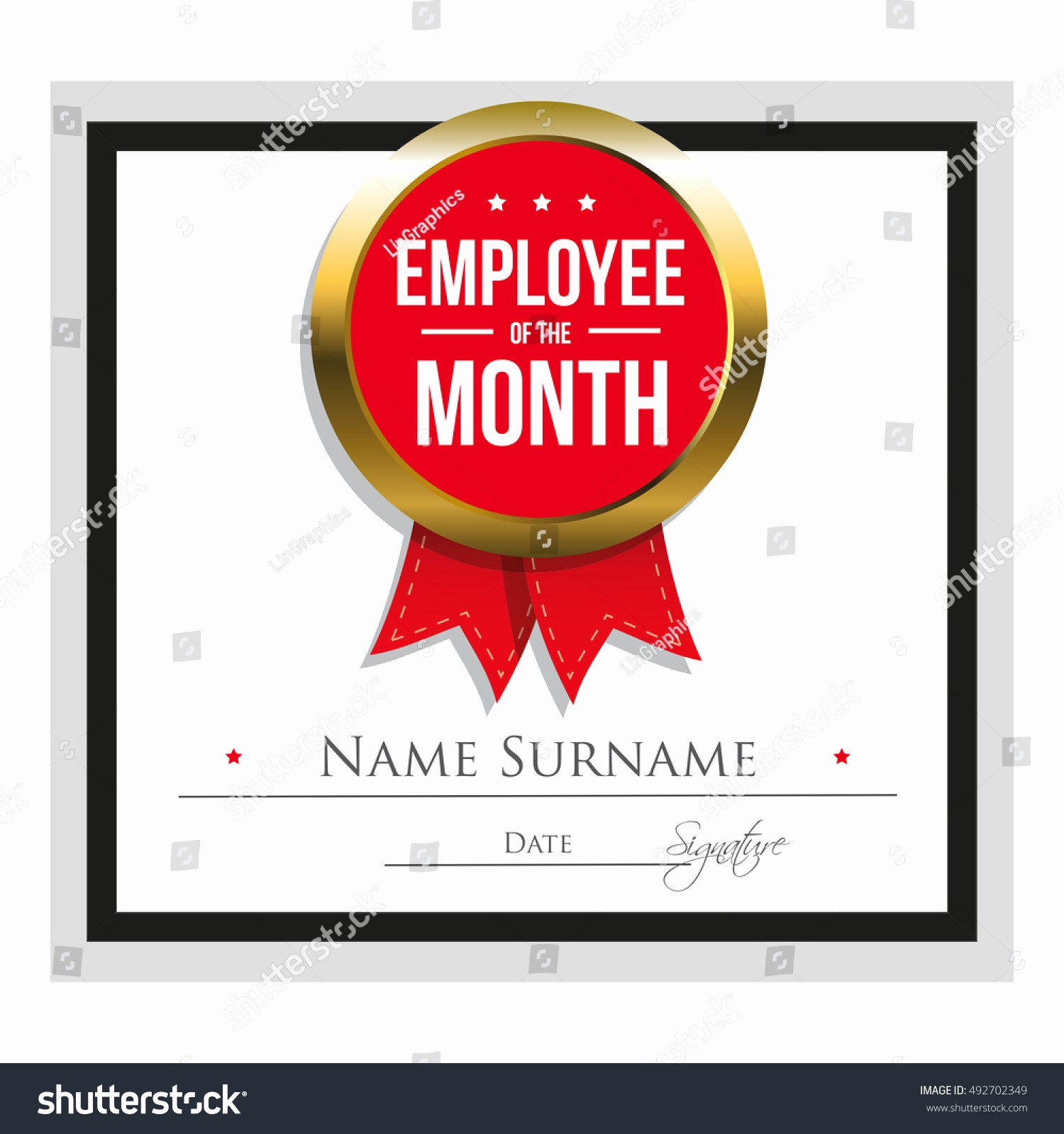 Employee Of the Year Certificates Luxury Employee Month Certificate Template Stock Vector