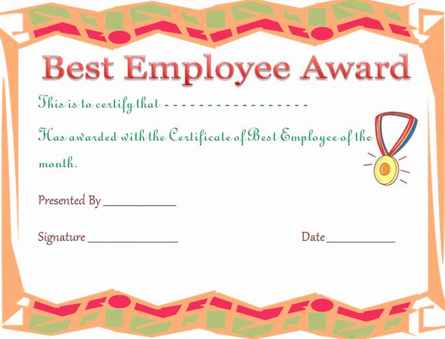 Employee Of the Year Certificates New Best Employee Award Certificate Template