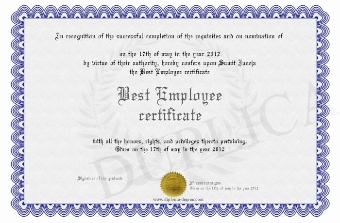 Employee Of the Year Certificates New Best Employee Certificate