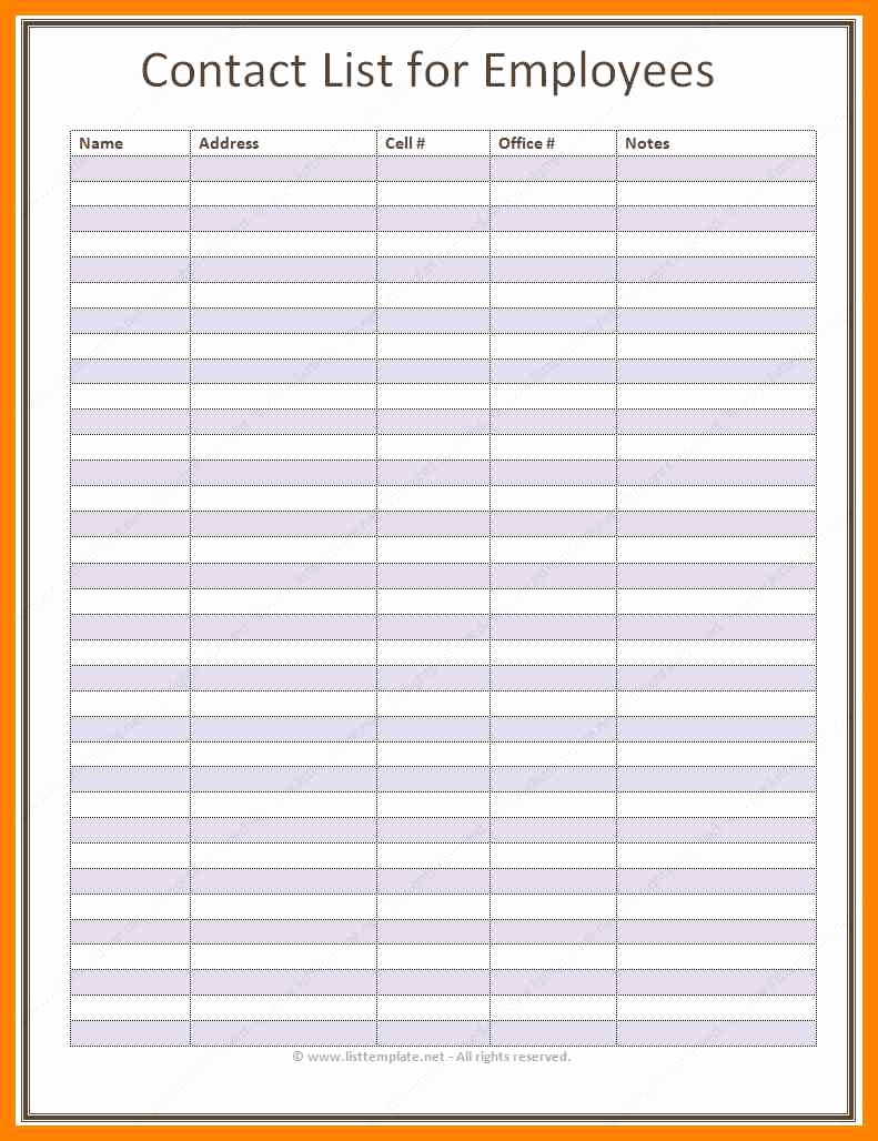 Employee Phone List Template Free Beautiful 5 Free Printable Phone List Template