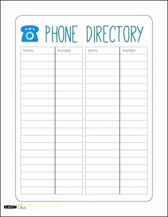 Employee Phone List Template Free Beautiful Excel Phone List Template Telephone Image Contact Free T
