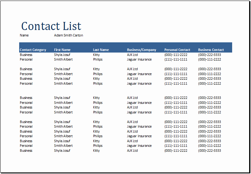 Employee Phone List Template Free Best Of Contact List Template Excel