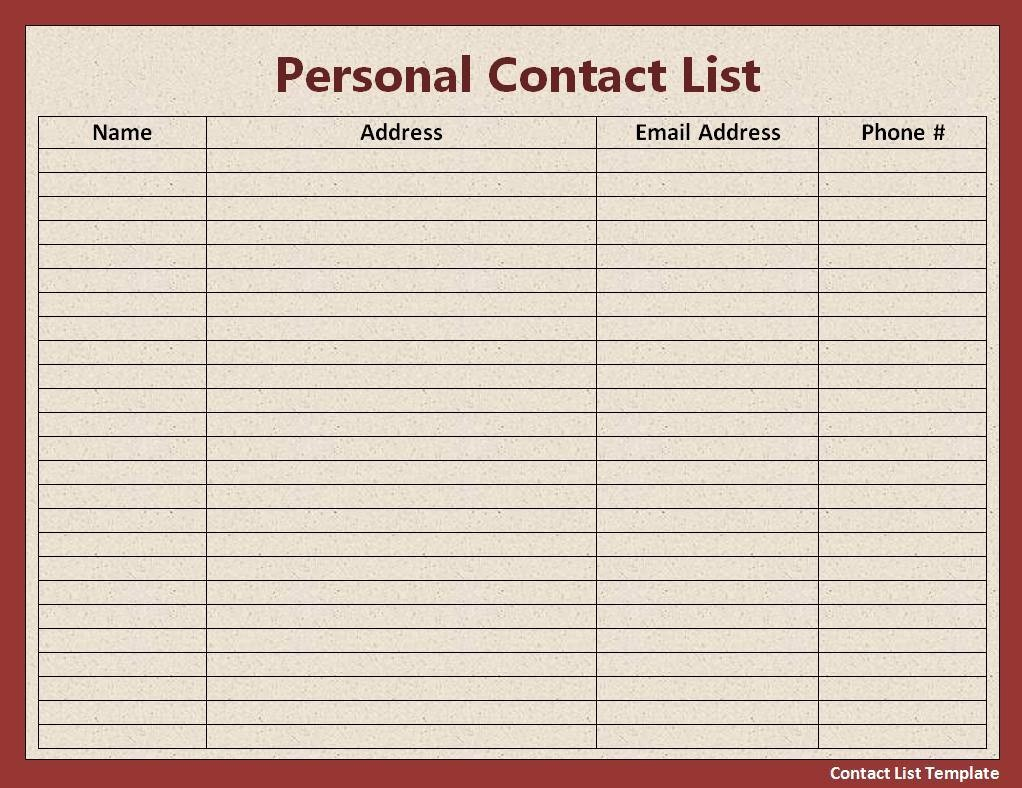 Employee Phone List Template Free Fresh Contact List Template