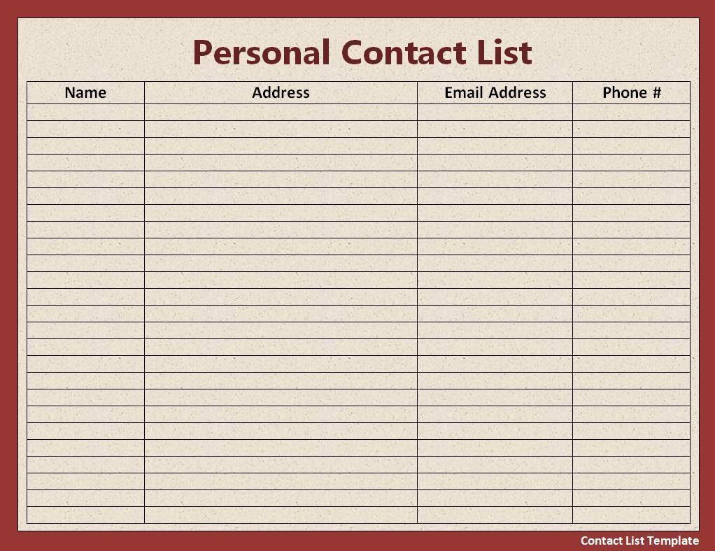 Employee Phone List Template Free Fresh Contact List Template