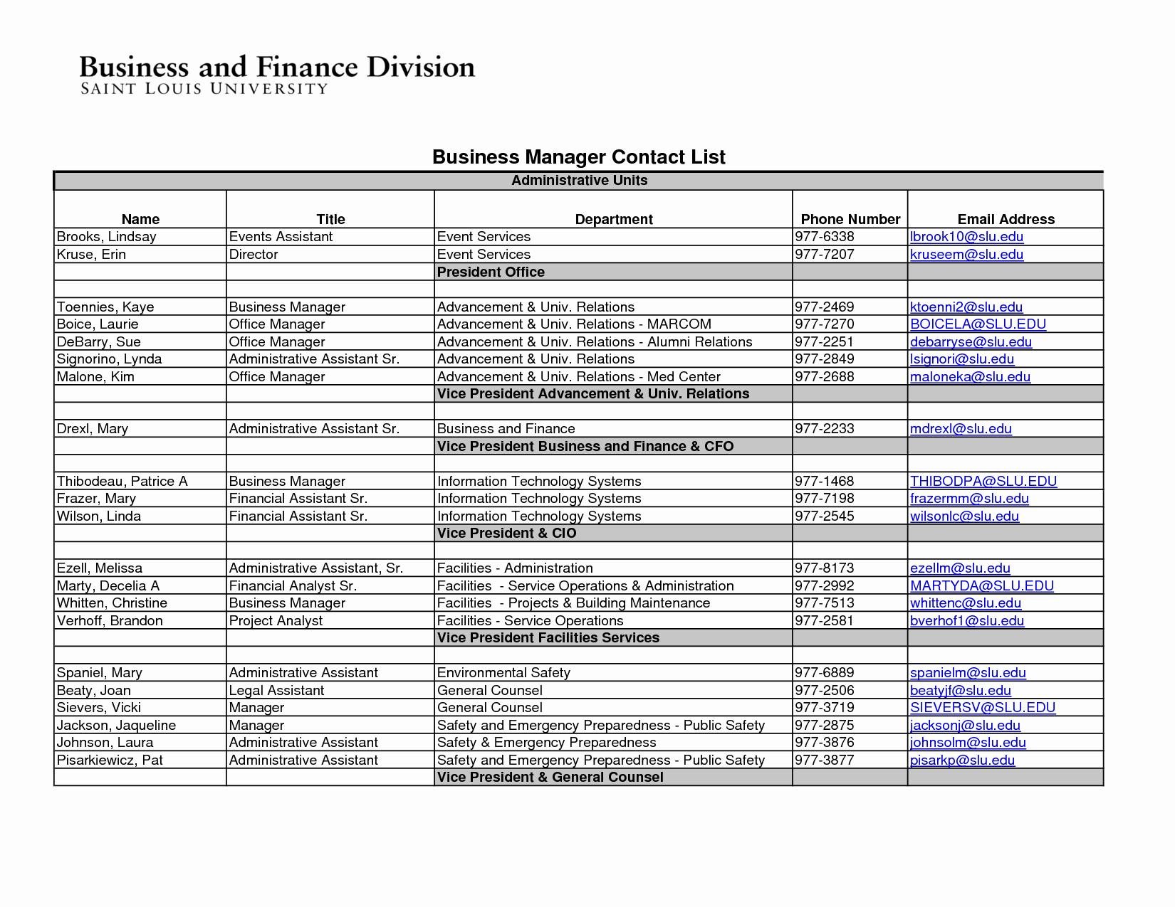 Employee Phone List Template Free Fresh Phone List Template Excel Portablegasgrillweber