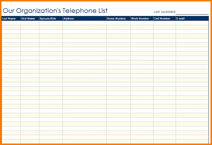 Employee Phone List Template Free Lovely Contact List Template